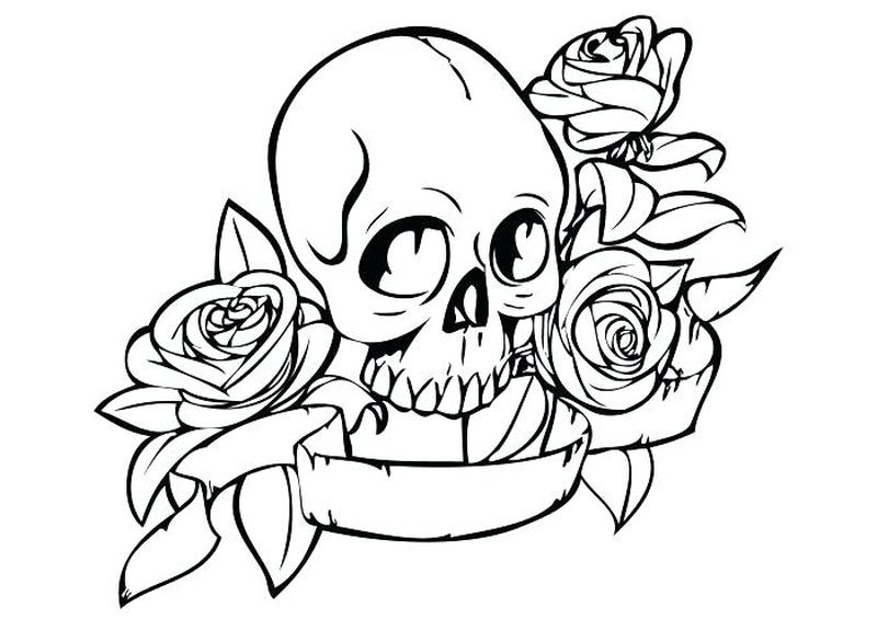 coloring pages skeleton fish