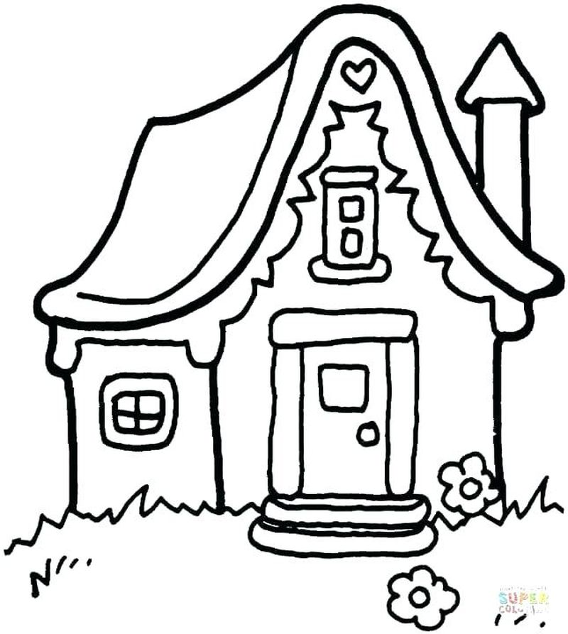 coloring picture of a house