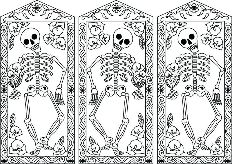 dog skeleton coloring pages Printable