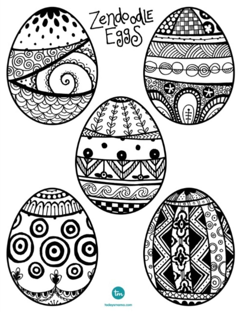 easter egg detailed adult coloring pages