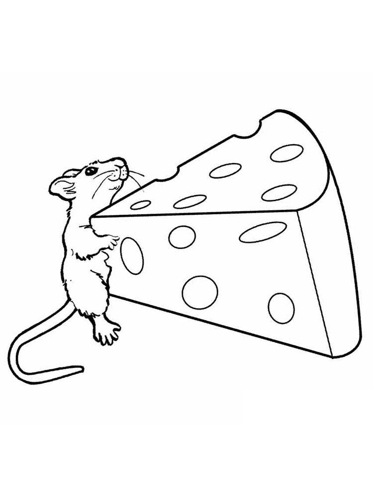 mouse with cheese coloring page printable
