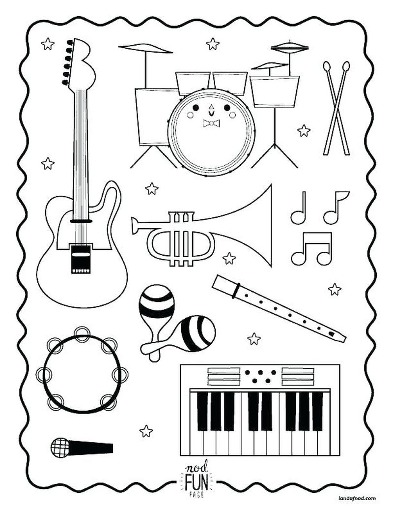 music coloring pages for prek