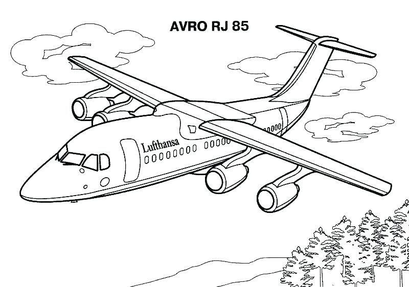 plane colouring in pages