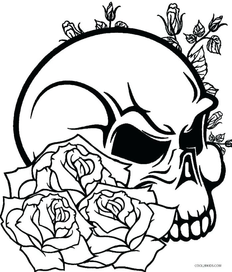 realistic evil skeleton coloring pages Printable
