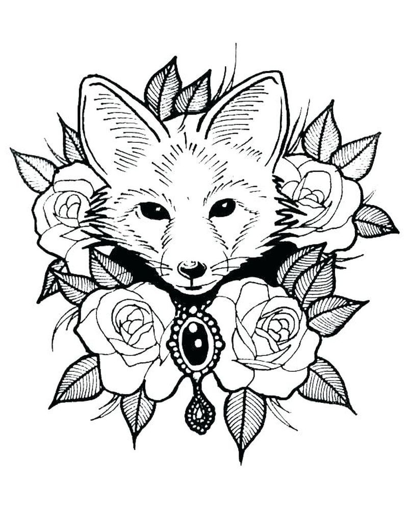 realistic fox coloring pagesPrintable