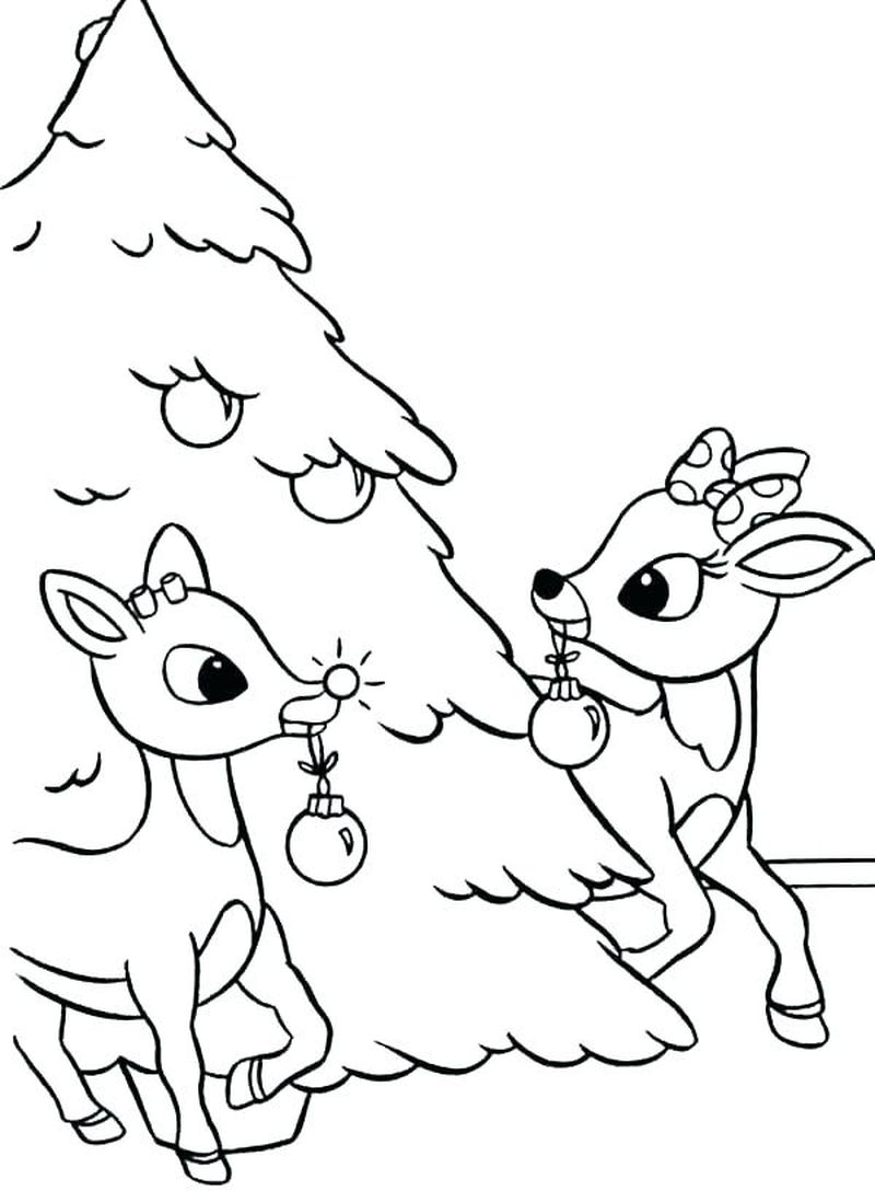 rudolph and clarice kissing coloring pages