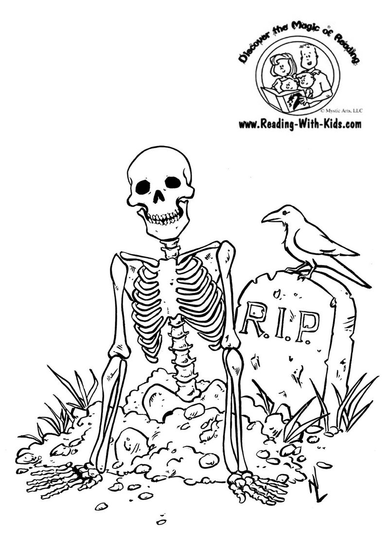 skeleton and pumpkin coloring pages