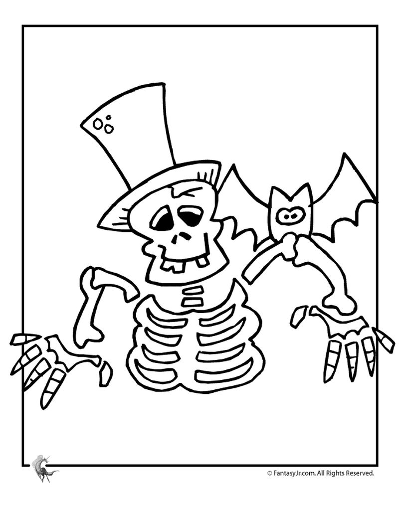 skeleton line art coloring pages