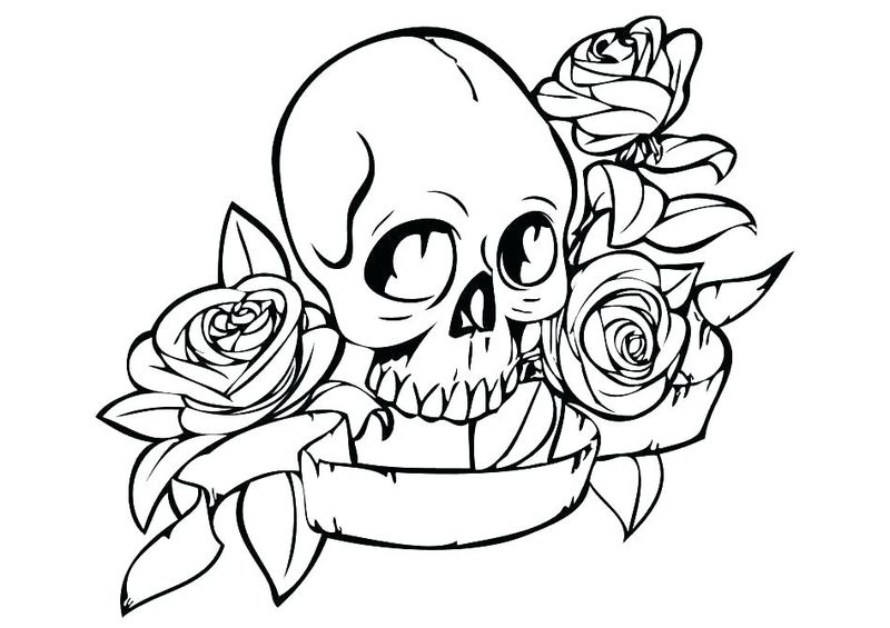 skeleton scary coloring pages