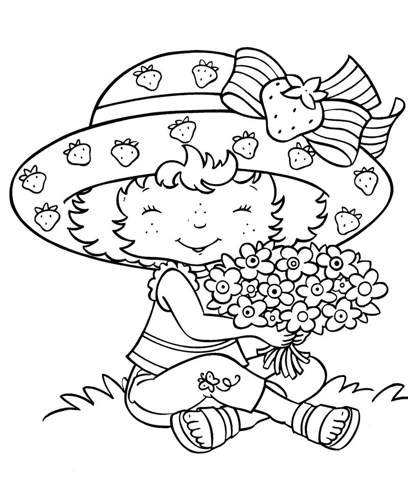 strawberry shortcake is baking coloring pages Printable