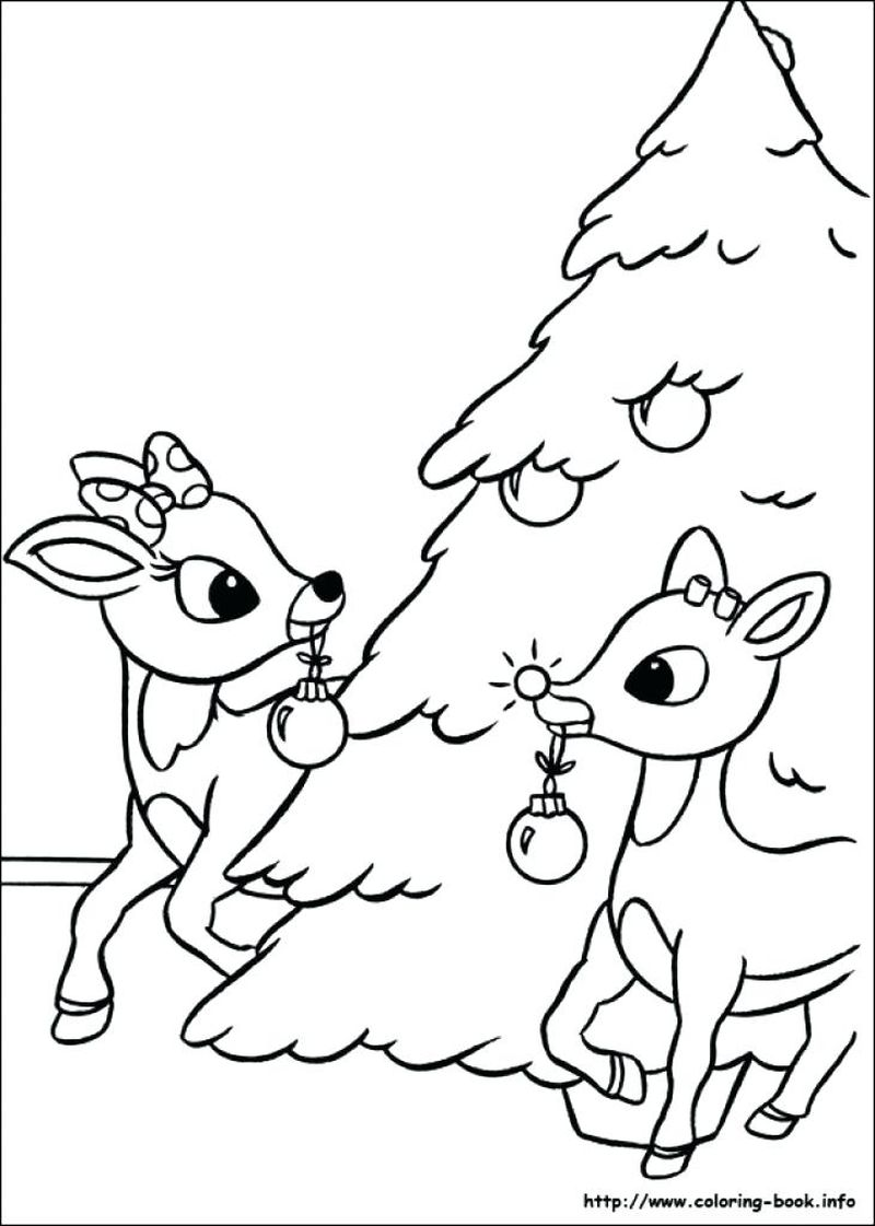 the santa with rudolph giving out presents coloring pages