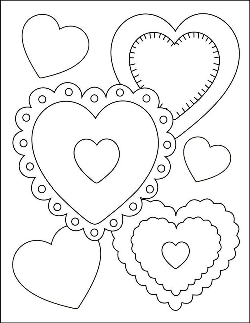 valentines heart coloring pages Printable