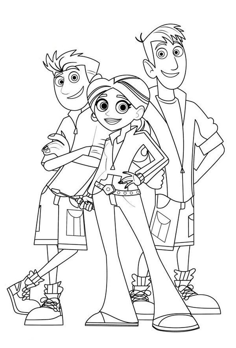 wild kratts coloring pages black and white