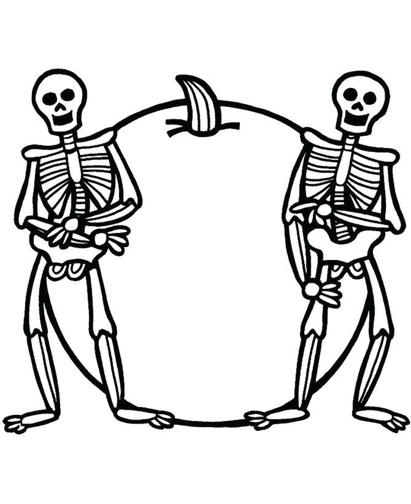 x is for skeleton coloring pages