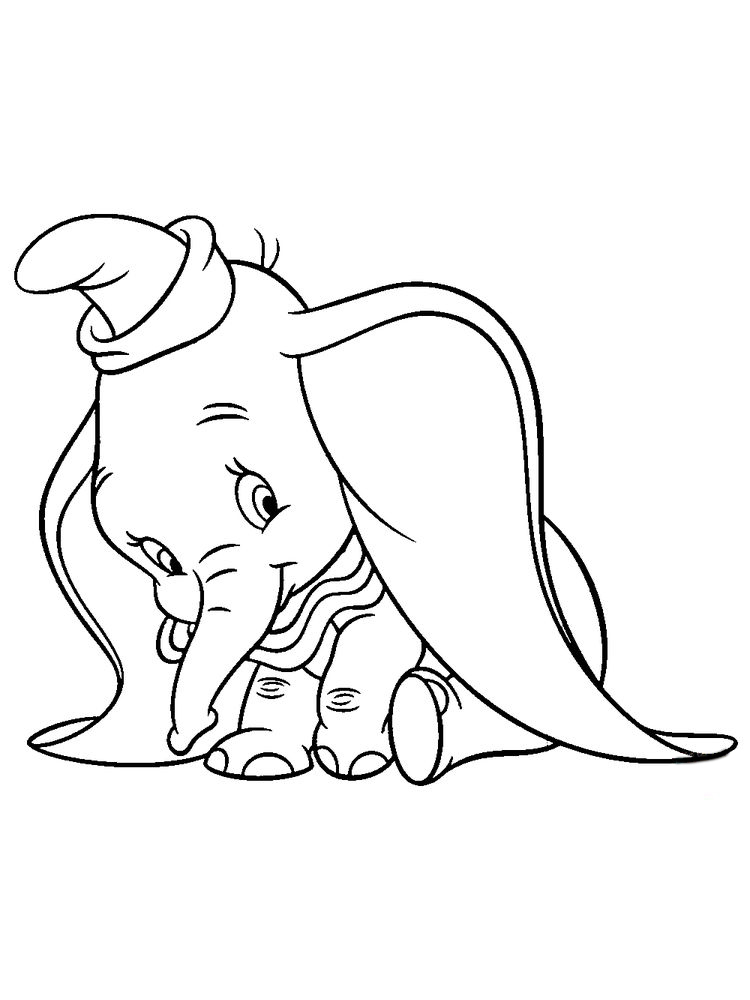 Dumbo Elephant Coloring Pages Free