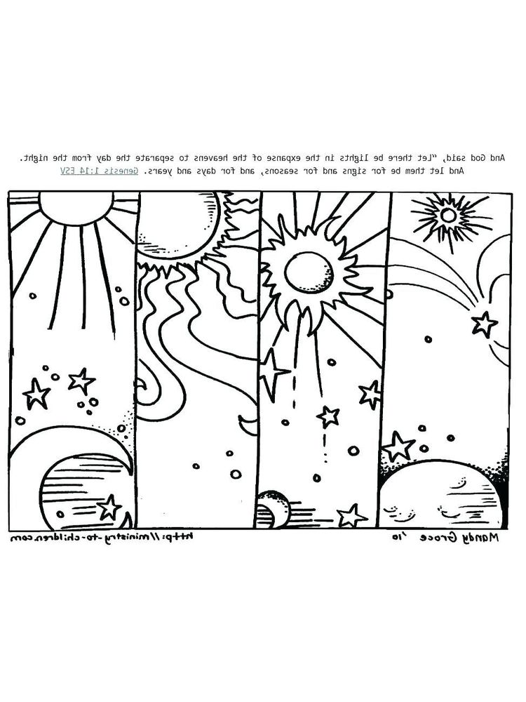 Printable 7 days of creation coloring pages for kids