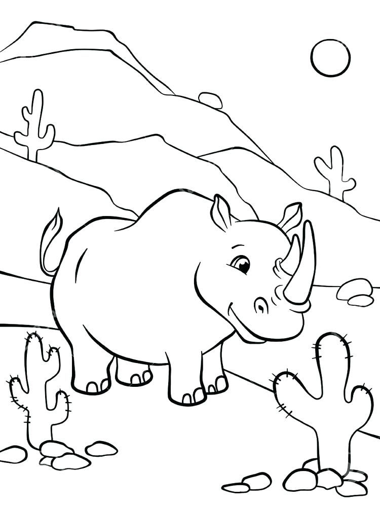 Printable Baby Rhino Coloring Page