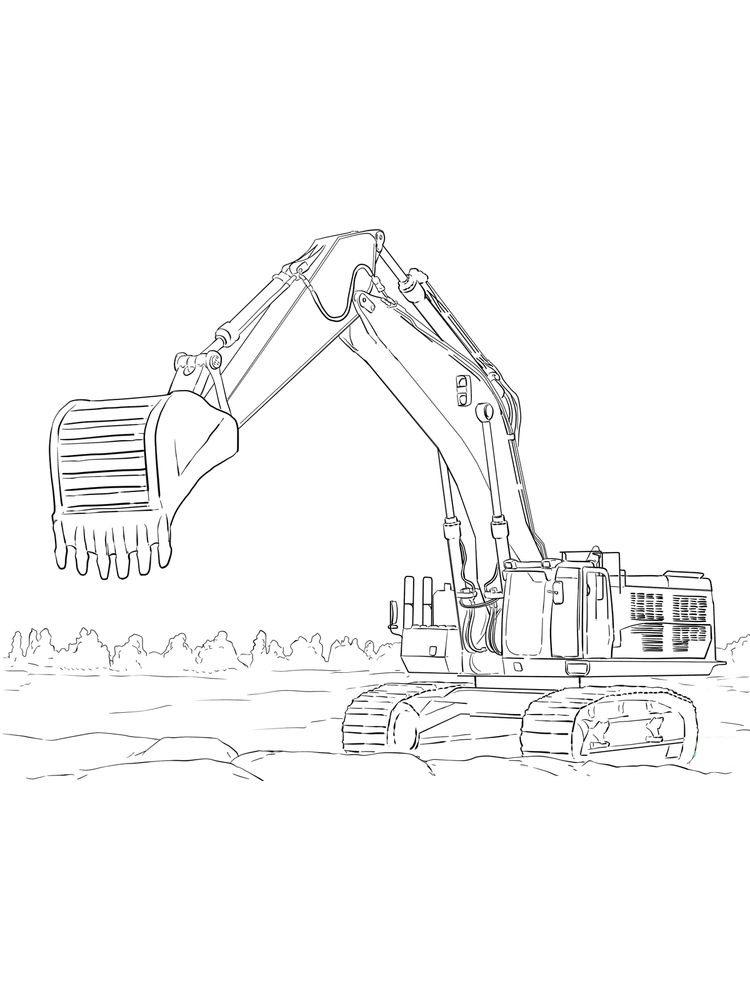 Printable Cat Excavator Coloring Pages