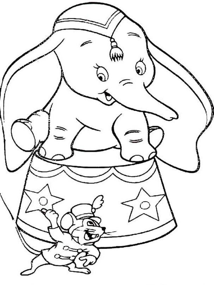 Printable Dumbo Cartoon Coloring Pages