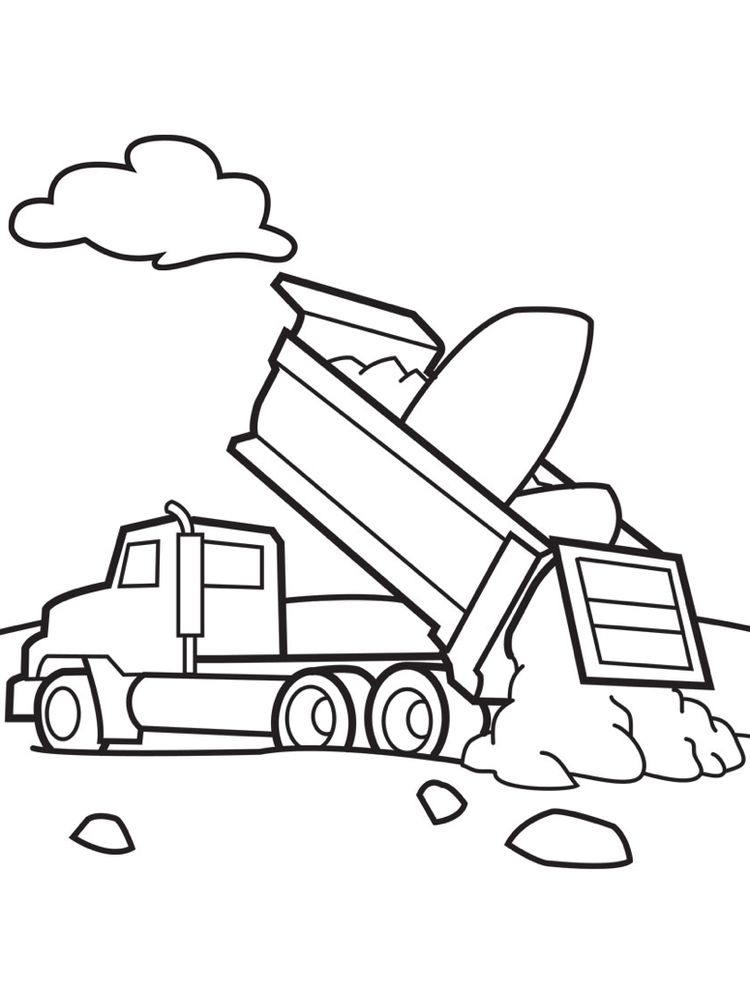 Printable Dump Truck Coloring Pages Easy