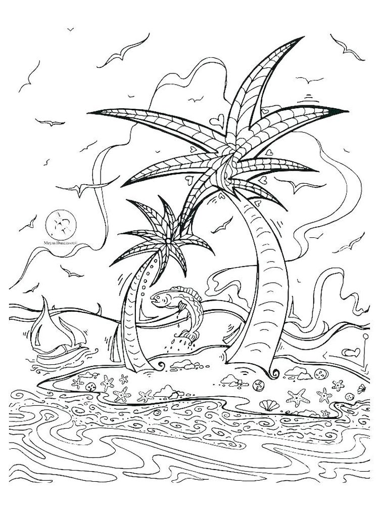 Printable Free Island Coloring Pages