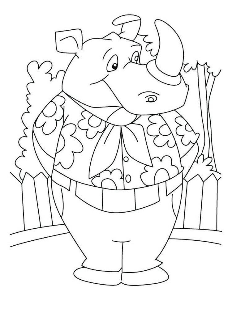 Printable Free Rhino Coloring Pages