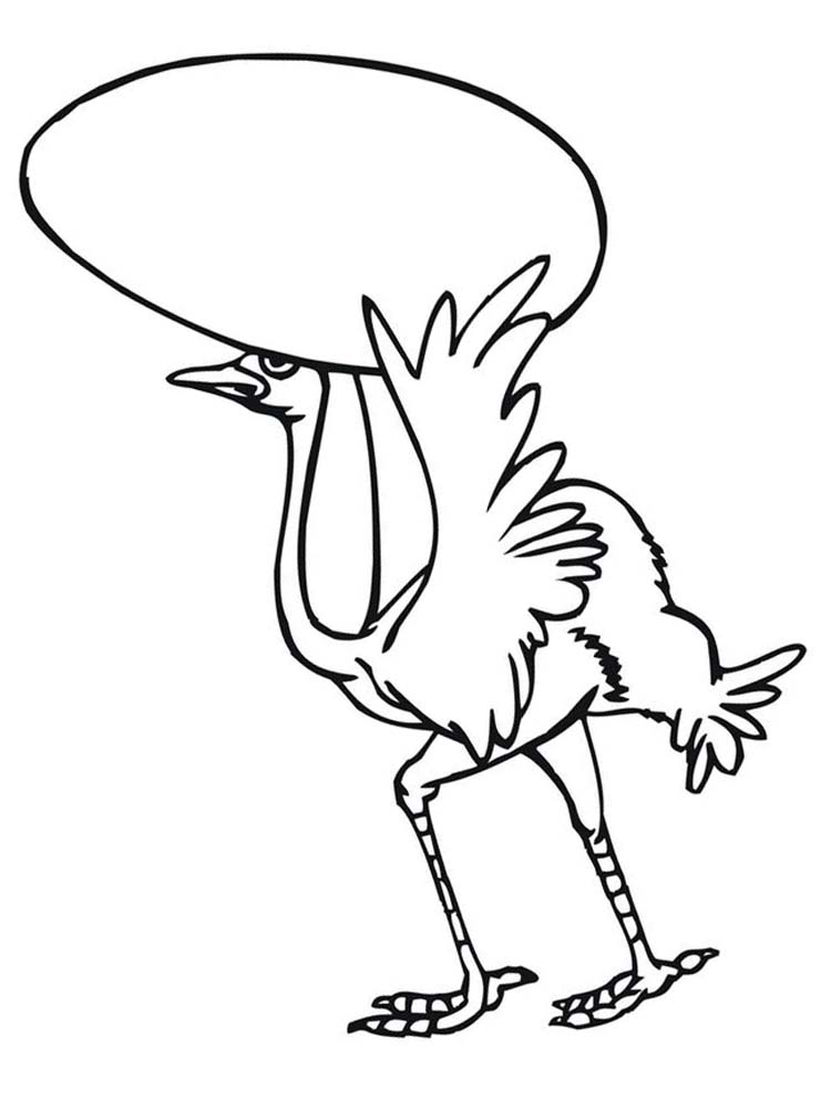 Printable Funny Ostrich Coloring Pages