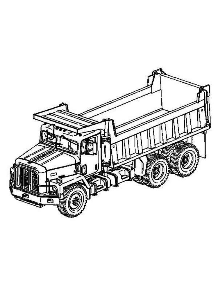 Printable Happy Dump Truck Coloring Pages