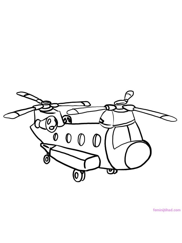 Printable Huey Helicopter Coloring Pages