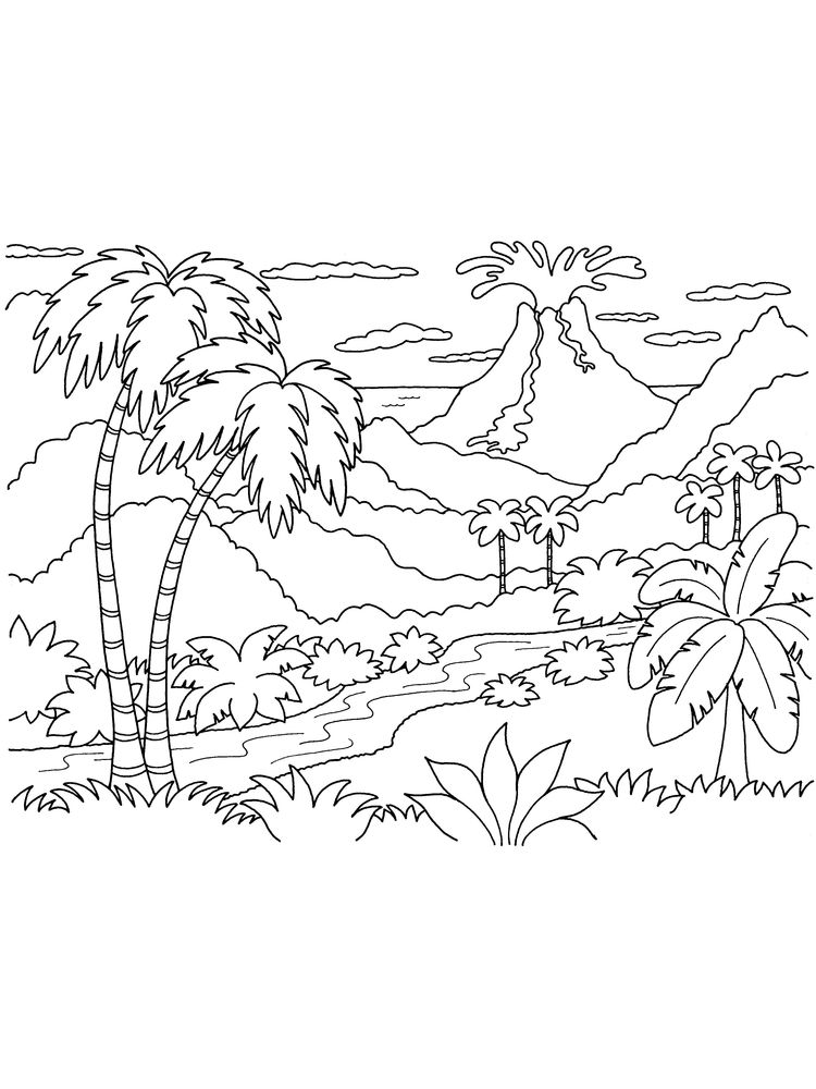 Printable Island Coloring Pages