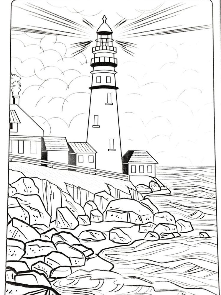 Printable Lighthouse Art Coloring Pages