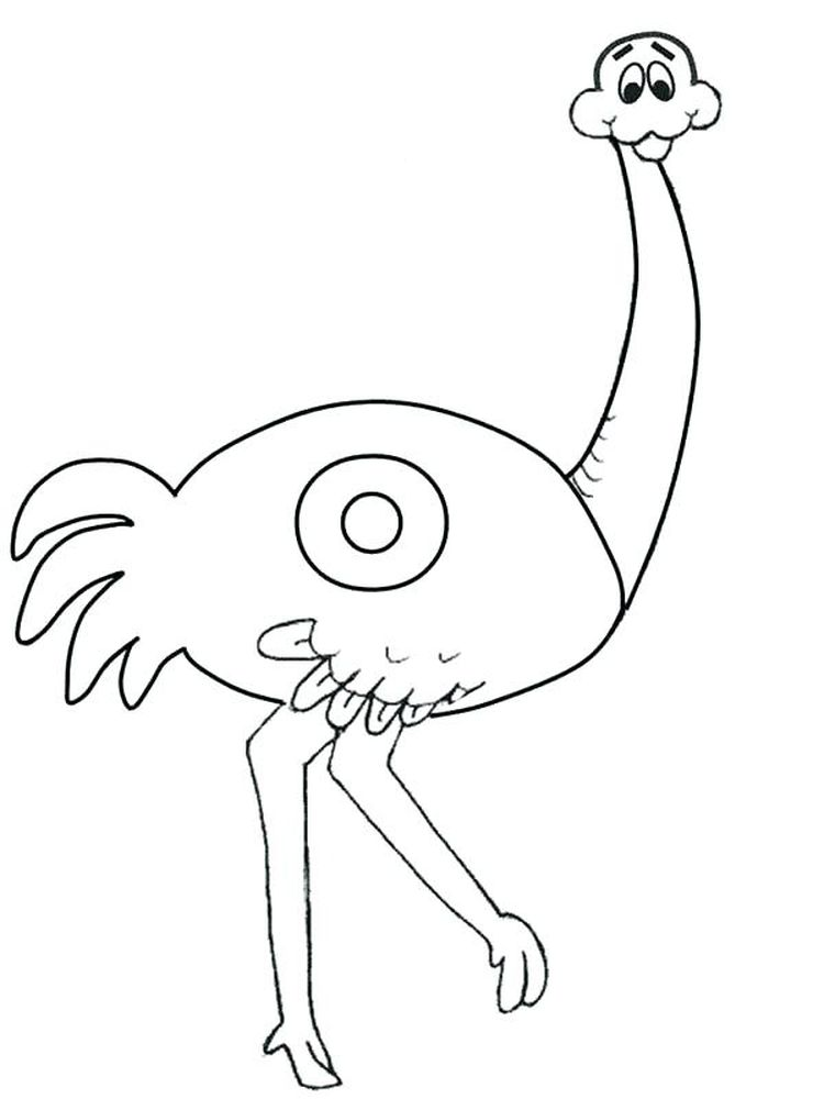 Printable O Ostrich Coloring Page