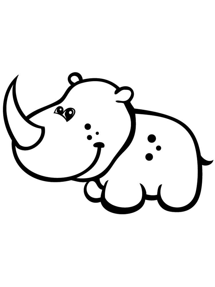 Printable Rhinoceros Coloring Page For Preschoolers
