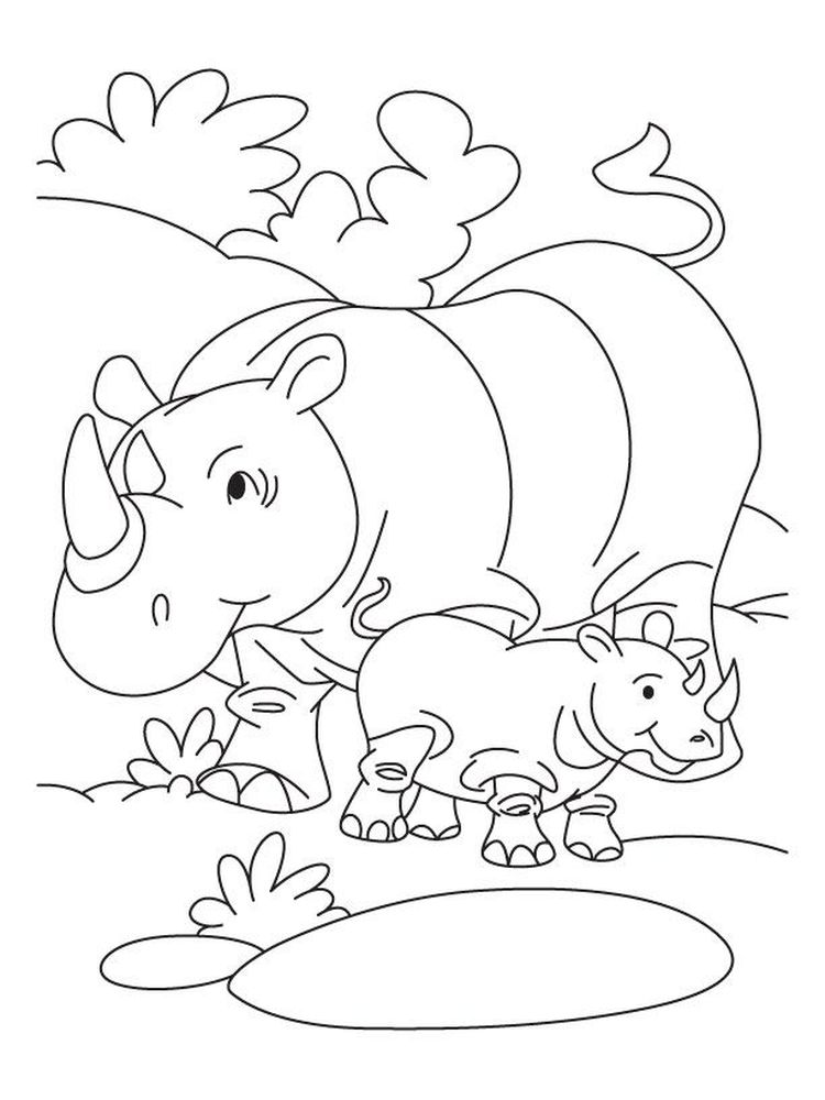 Printable Rhinoceros Coloring Pages Printable