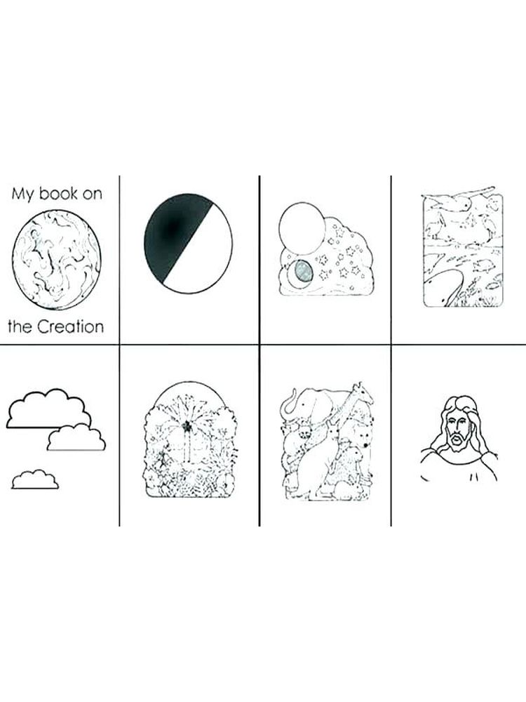 Printable coloring pages of 7 days of creation