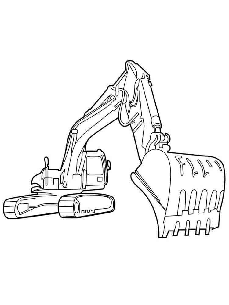 Printable excavator coloring pages image