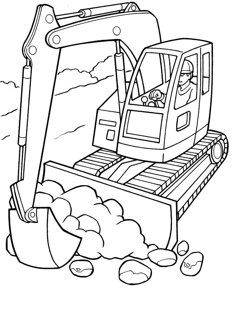 Printable excavator coloring pages new
