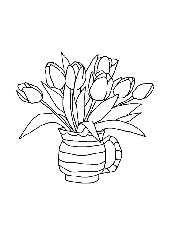 Printable tulip coloring pages print