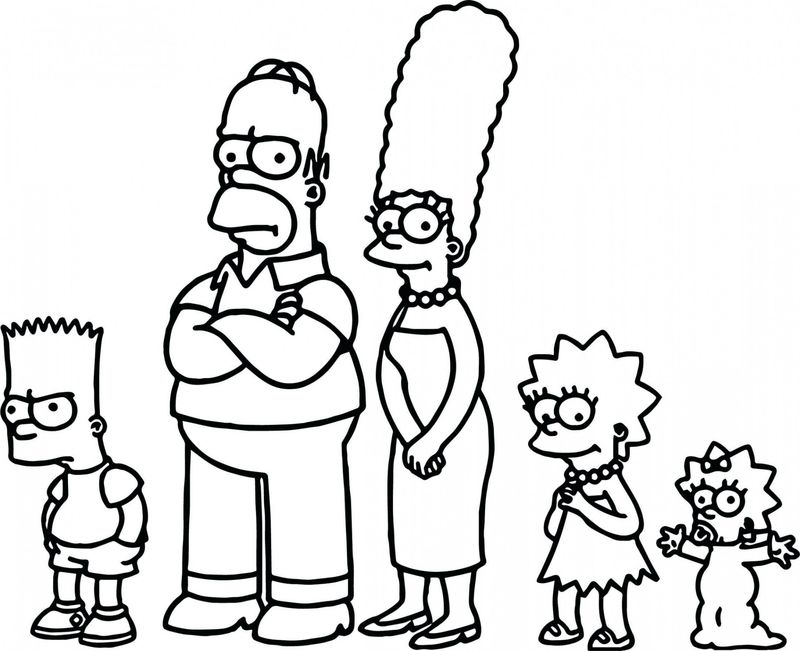 The Simpsons Family Colouring Pages Printable