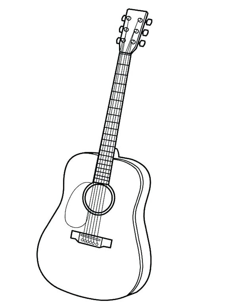 acoustic guitar coloring page