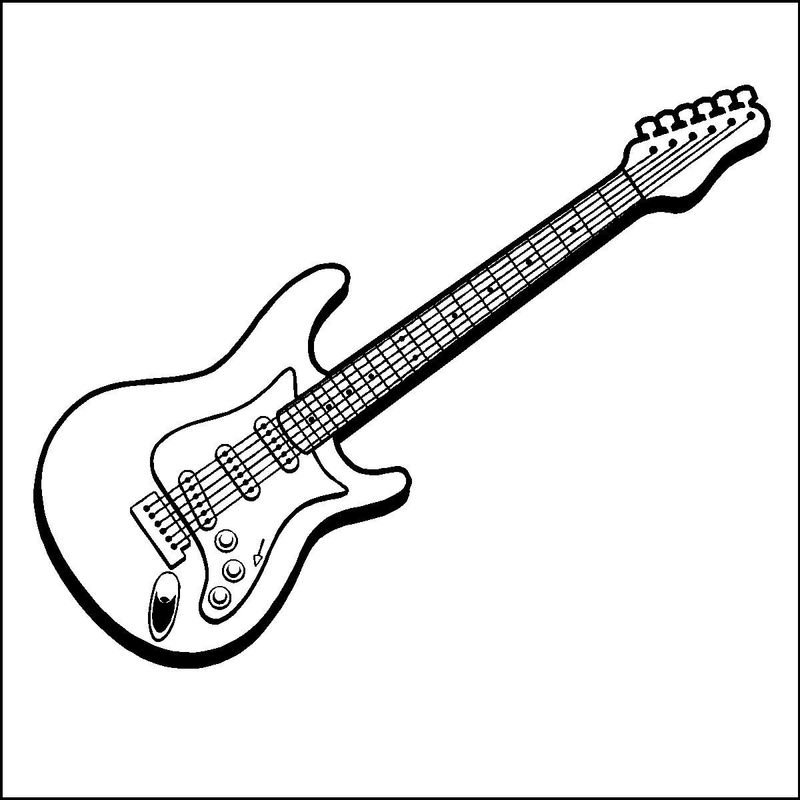 bass guitar coloring page print