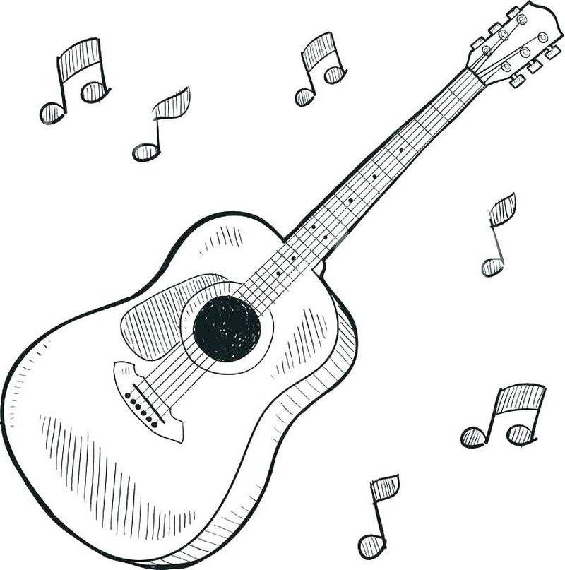 bass guitar coloring page