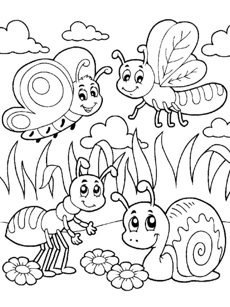 bugs and insects coloring page