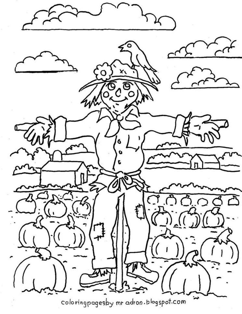 coloring page for scarecrow