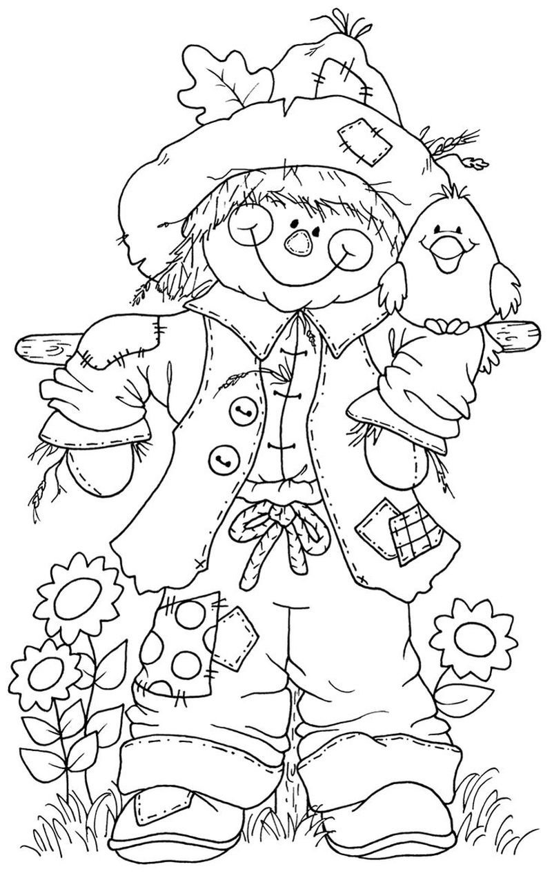 coloring page of a scarecrow