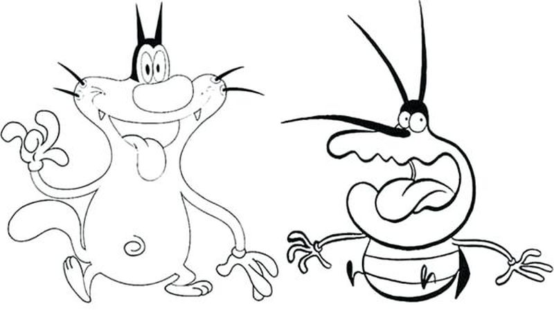 coloring page oggy and the cockroach