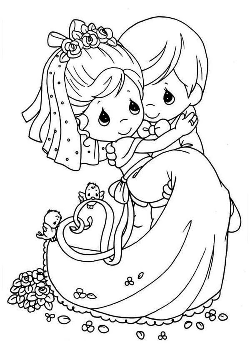 coloring pages of wedding dresses