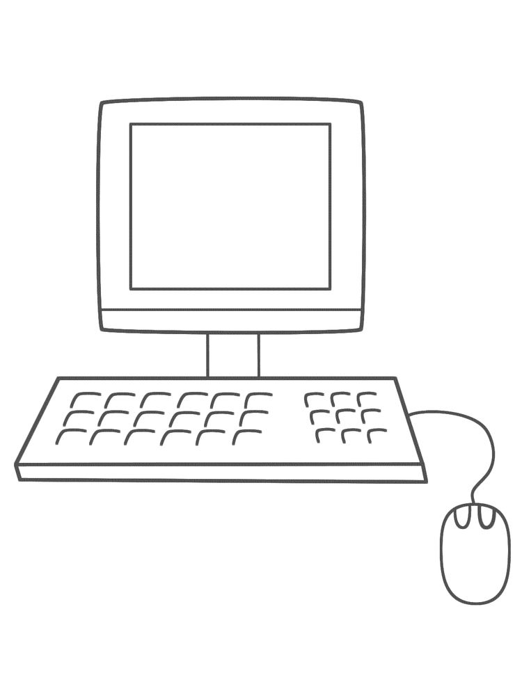 computer coloring pages for kindergarten