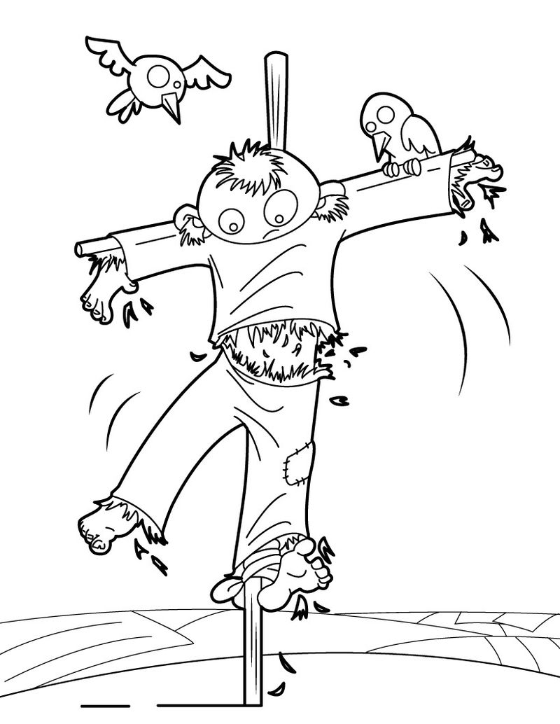 cute scarecrow coloring pages