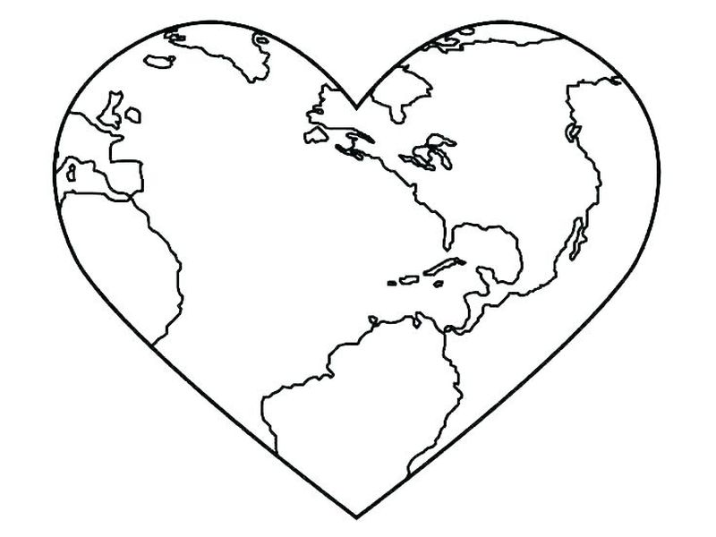 earth day heart coloring pages Printable